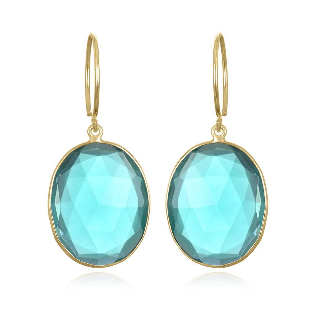 New Color! Cabo Gem Earring-Ocean Blue Gold