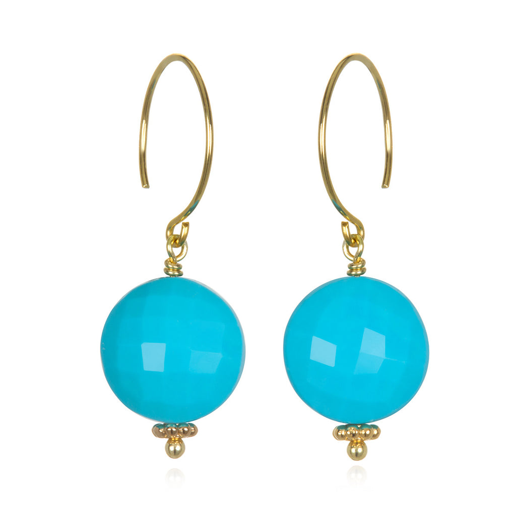 Turquoise Coin Earring Gold