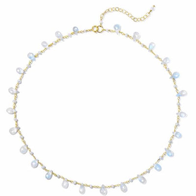 Wildflower Necklace - Moonstone Pearl