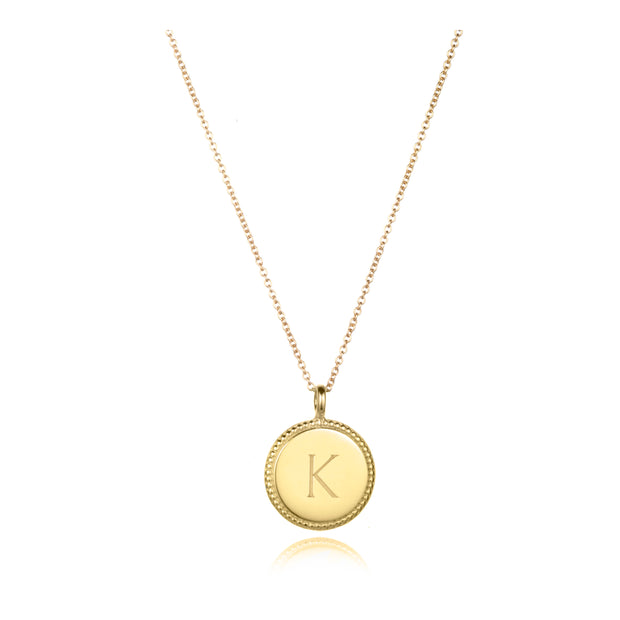 round charm necklace gold