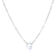 Mother of Pearl Initial Necklace-silver