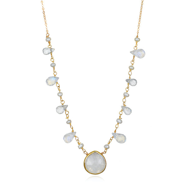 Wildflower Moonstone Bezel Necklace