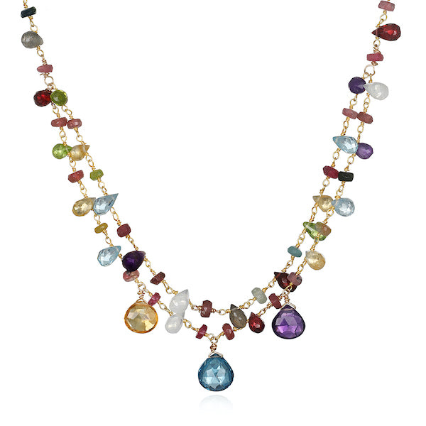 Wildflower Double Strand Necklace with Gemstone drops