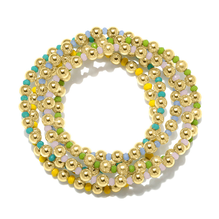 Blue Stretchy Bracelet Gold