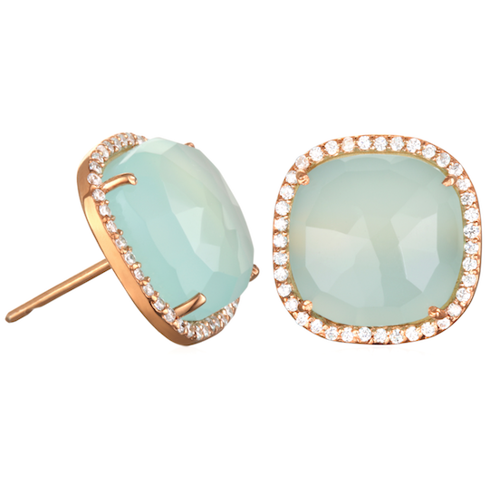 Paris Stud-Aqua with Clear Gold