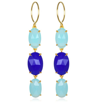 Catalina Triple Oval Earring Aqua & Blue Chalcedony Gold
