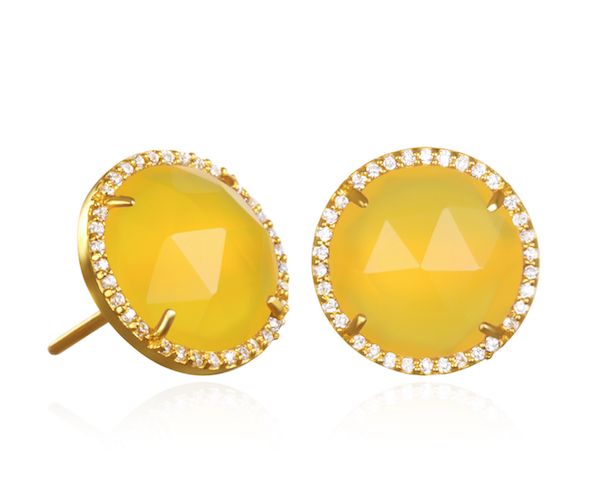 Paris Round Stud-Yellow with Clear Gold