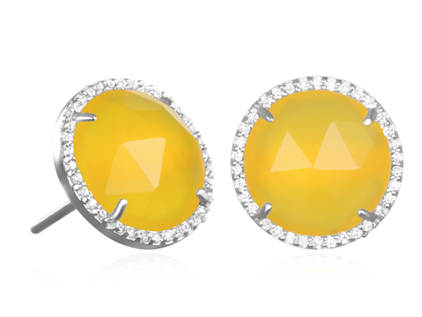 Paris Round Stud-Yellow with Clear Silver