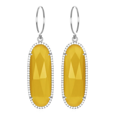 Paris Grand Oval Earring - Yellow Clear Silver
