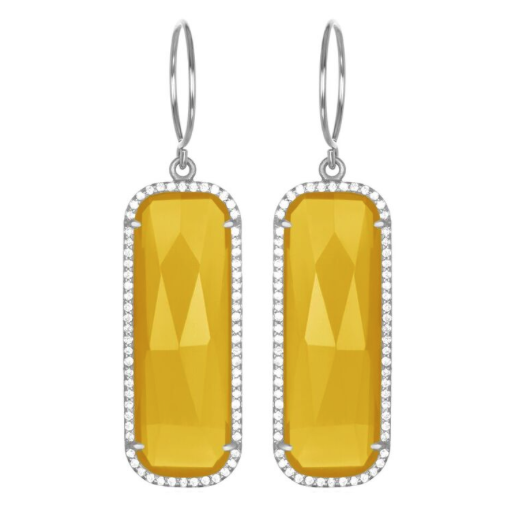 Paris Grand Earring - Yellow Clear Silver
