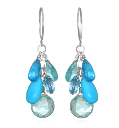Coin Dangle Earrings - Blue Topaz