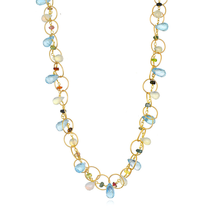 Wildflower Topaz Circles Necklace