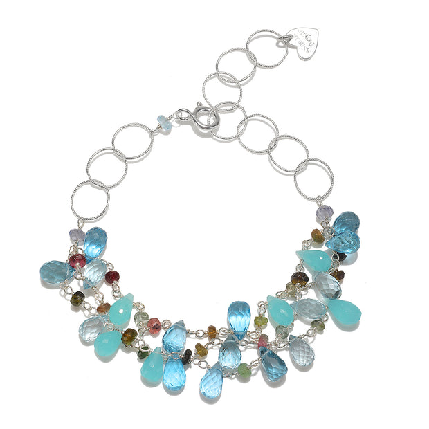 Wildflower Statement Bracelet-Swiss Blue Topaz