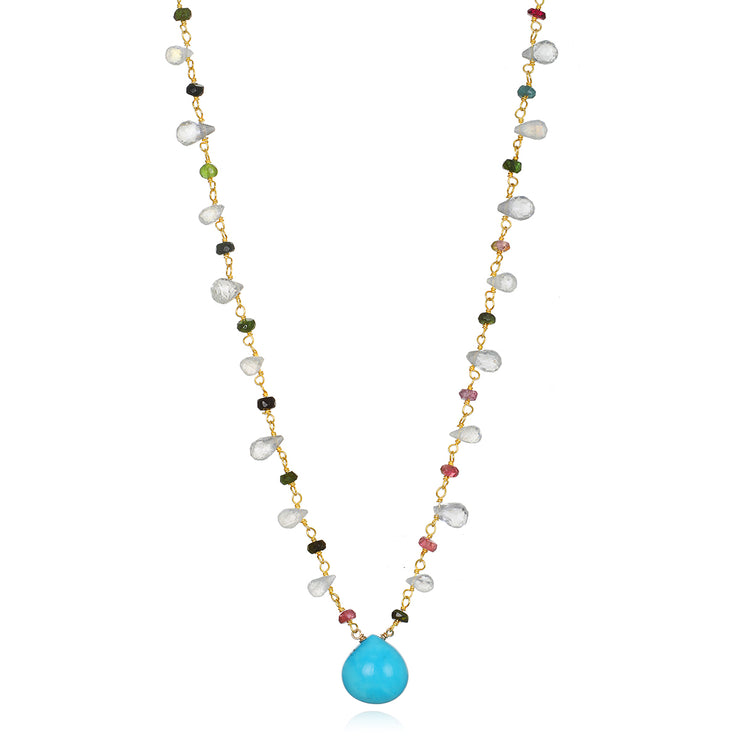 Wildflower Statement Necklace-Turquoise