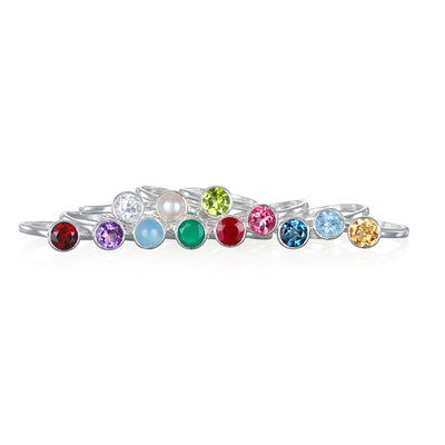 Birthstone Rings-Silver