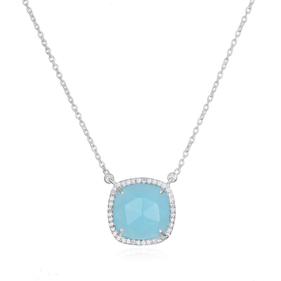 Paris Cushion Necklace - Blue Chalcedony