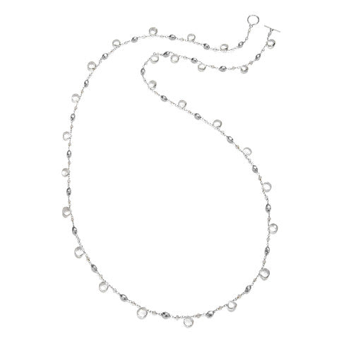 Long Cabo Quartz Necklace-Clear Silver