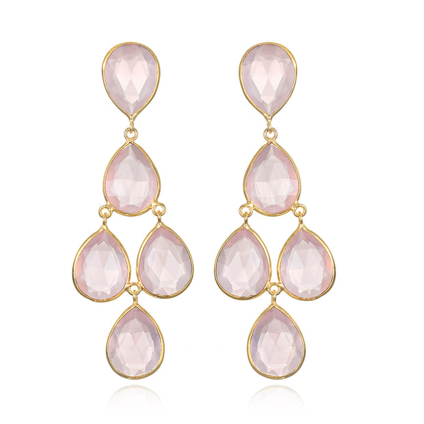Rose Quartz Chandelier Earring