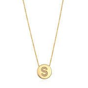 Diamond Coin Necklace Gold