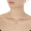 Gold Diamond Disc Floating Initial Necklace