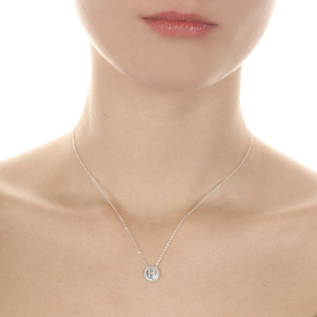 Silver Diamond Disc Floating Initial Necklace