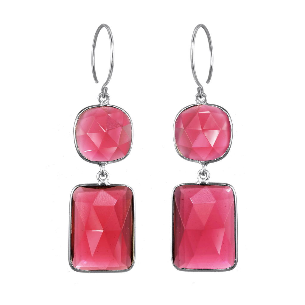 Cabo Double Drop Earrings - Ruby Pink Silver