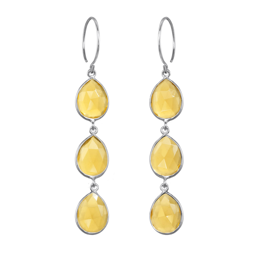 Cabo Teardrop Waterfall Earrings - Sunflower Silver