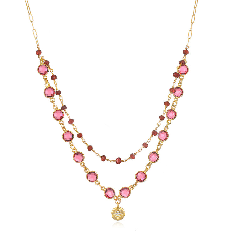 NEW!  Layered garnet starburst necklace