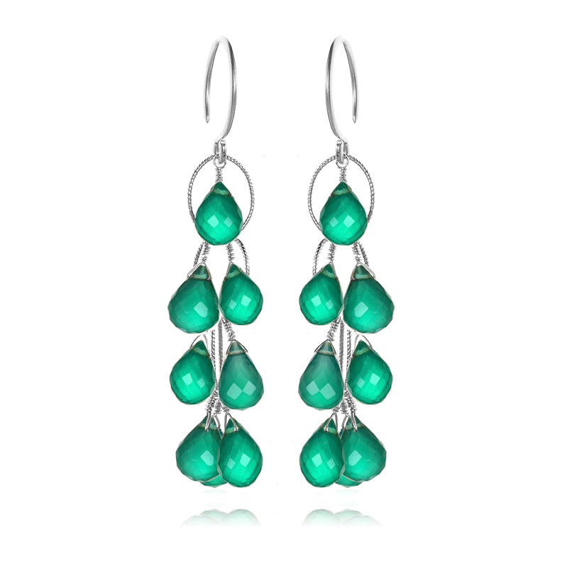 Waterfall Earrings Green Onyx Silver
