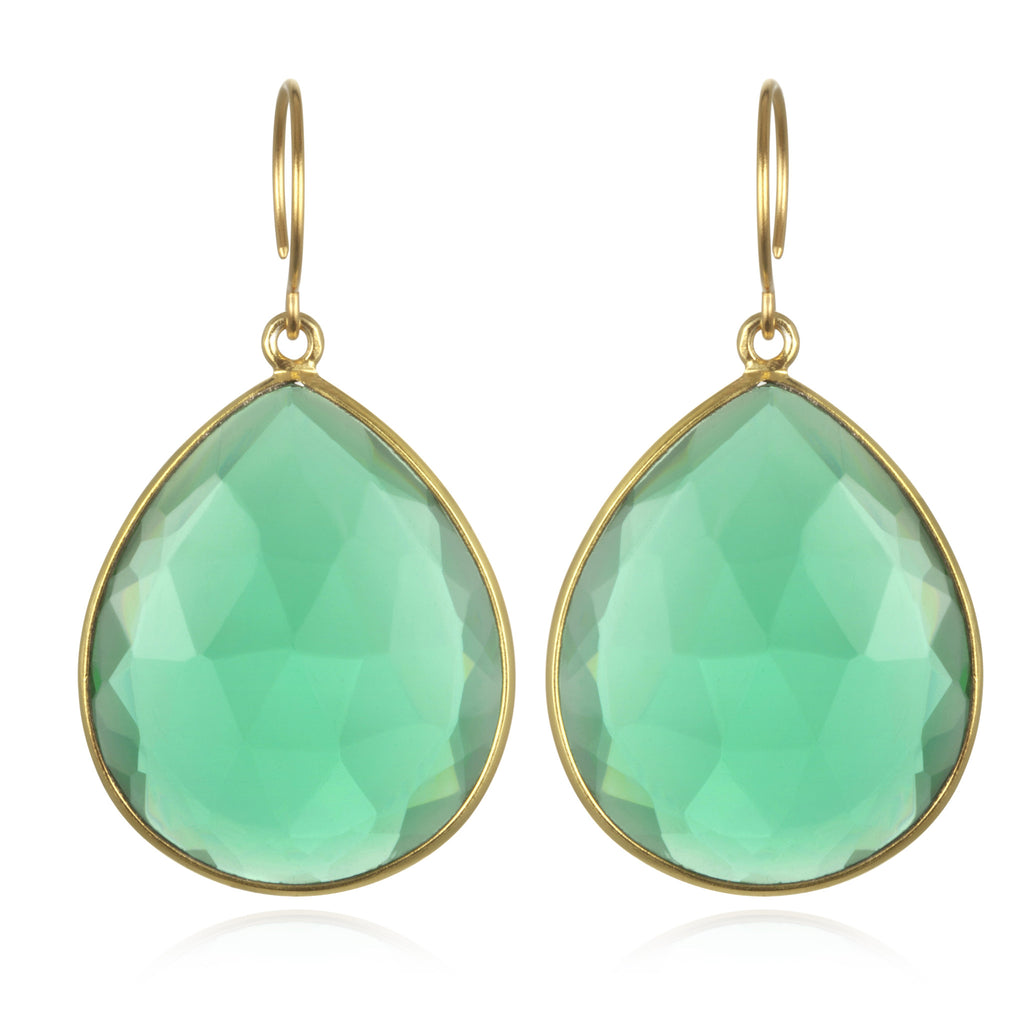 Cabo Grand Teardrop Earring-Aqua Gold