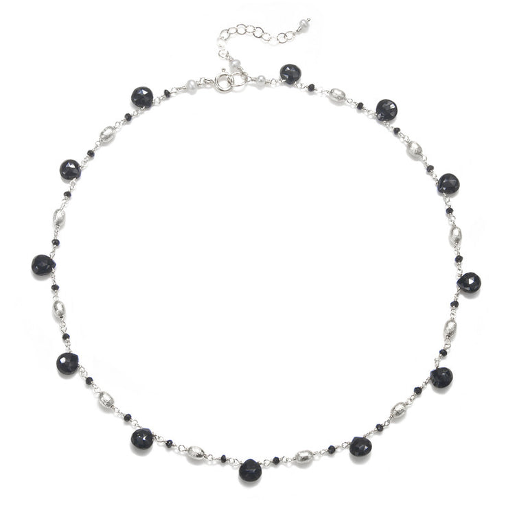 Cabo Quartz Necklace-Black Silver