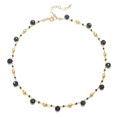 Cabo Quartz Necklace-Black Gold