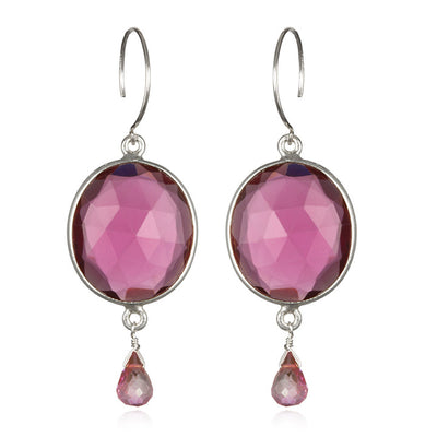 Cabo Gemdrop Earring-Ruby Pink Silver