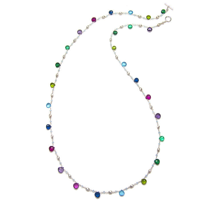 Long Cabo Quartz Necklace-Multi Color Silver