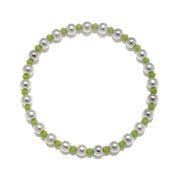 Green Stretchy Bracelet Silver
