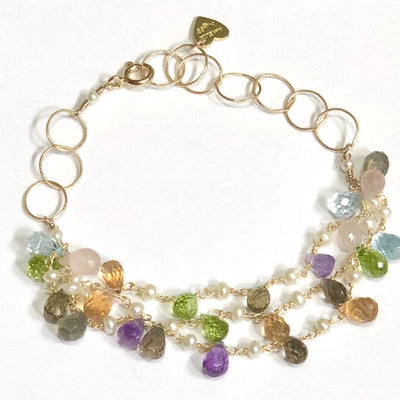 Wildflower Statement Bracelet-Multi Color and Pearl