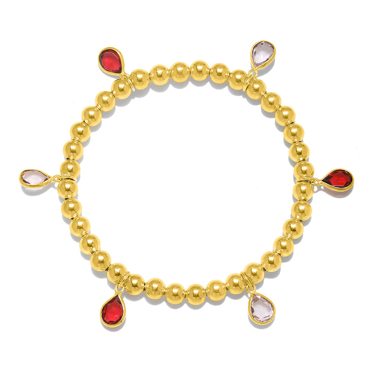 Teardrop pinks bracelet gold