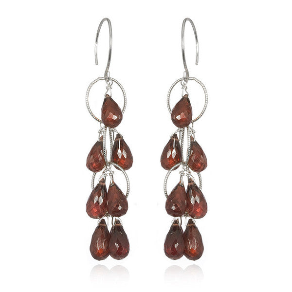 Waterfall Earrings Garnet Silver