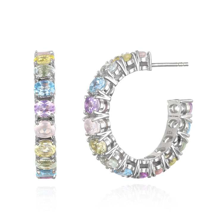 NEW! Gemstone Hoops-Silver