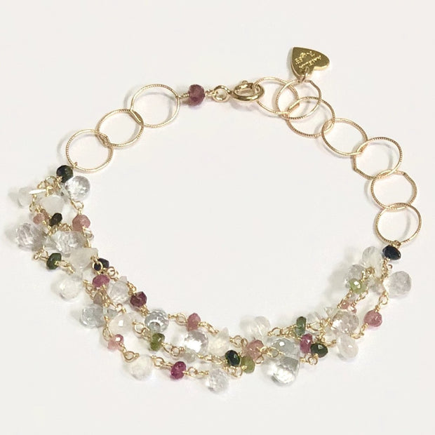 Wildflower Statement Bracelet-Topaz and Tourmaline