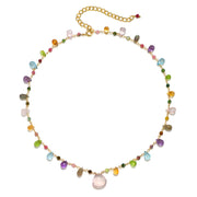 Wildflower Statement Necklace-Rose Quartz