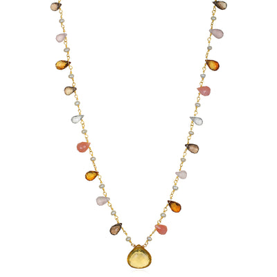 Wildflower Statement Necklace-Citrine