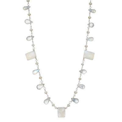 Moonstone & Pearl Wildflower Necklace