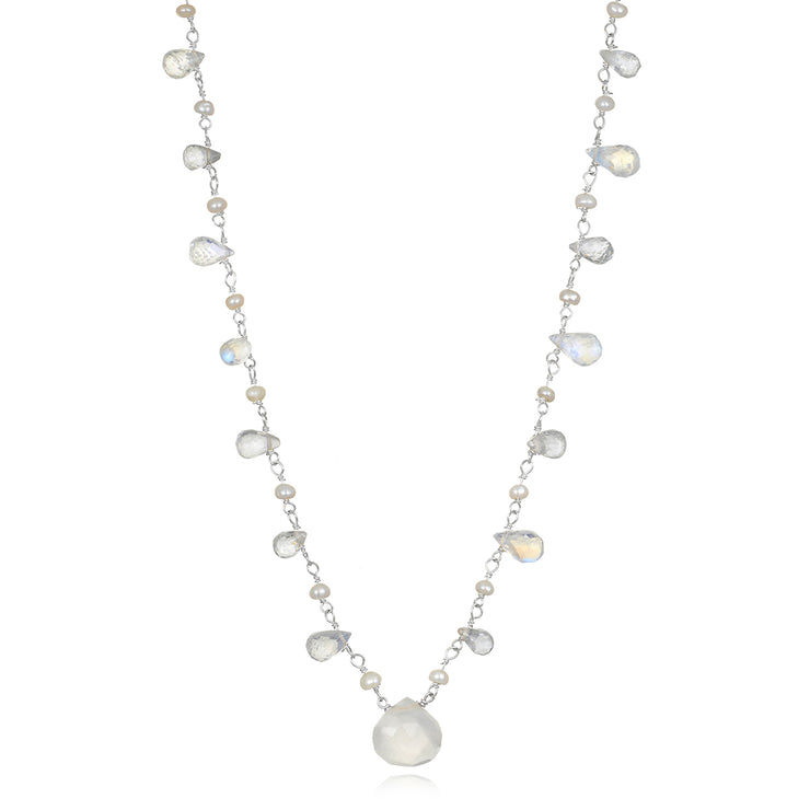Wildflower Statement Necklace-Moonstone