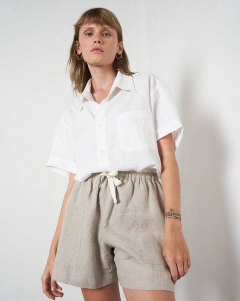 Linen Boy Short - Oatmeal