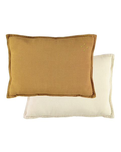 Two Tone Reversible Cushion - Ochre/Champagne