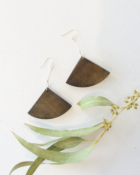 Recycled Wood Earrings - Dark Wood