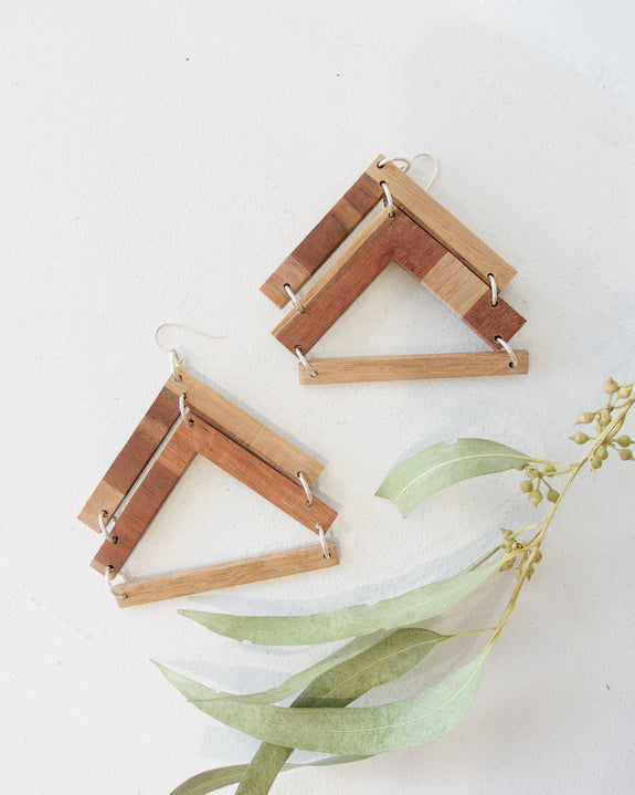 Recycled Wood Earrings - Arrow