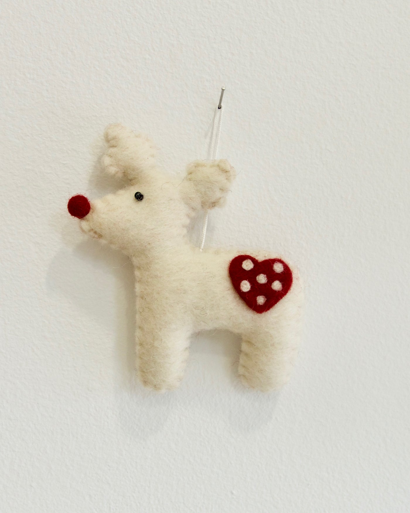 Reindeer Christmas Ornament - White