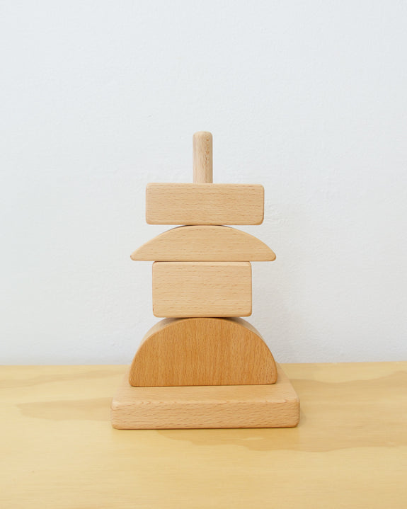 Geometric Stacking Toy - Natural